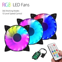 3PCS RGB Adjustable LED Cooling Fan 120mm With Controller Remote For Computer High Quality Computer Cooling
