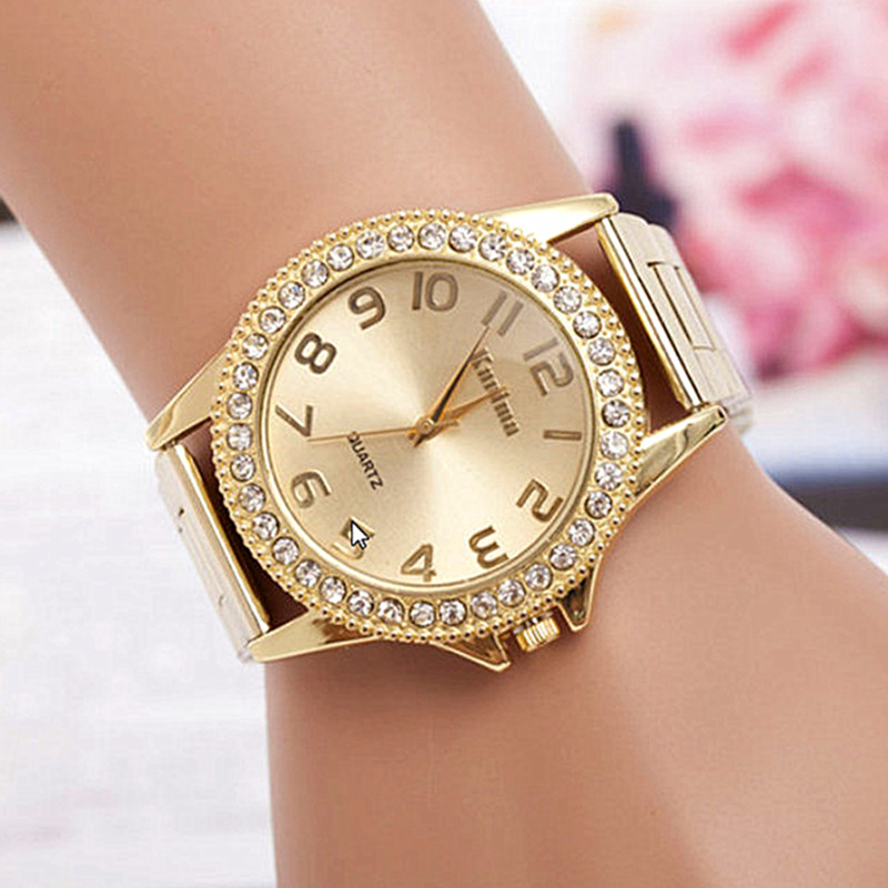 reloj mujer Gold Watch Women Luxury Brand New Geneva Ladies Quartz-Watch Gifts For Girl Stainless Steel Rhinestone wrist watches 2016 new fashion women watch women wrist watch quartz watches analog stainless steel bracelet luxury gifts for ladies rose gold