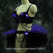 2018led световой сексуальная леди этап одежда для представлений мигающий свет Костюмы для бальных танцев костюм вечернее события Одежда для танцев Костюмы