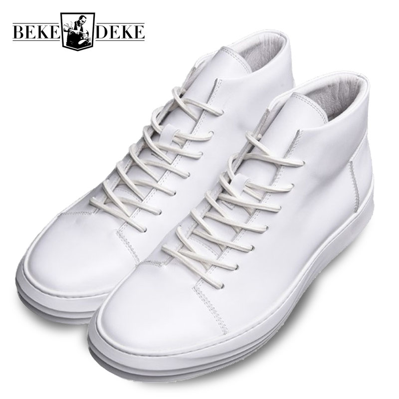 Top Brand Mens Genuine Leather Shoes White Lace Up High Top Trainers Sneakers Hip Hop Loafers