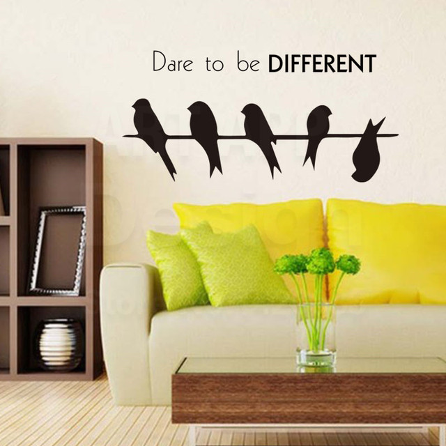 Art fashion design home decor vinyl Dare to be different words wall ...