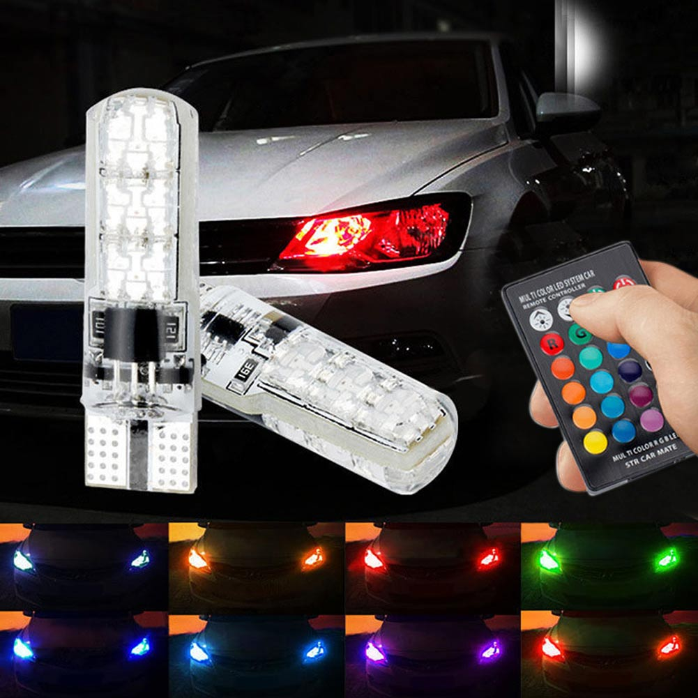 RGB 5050SMD 6LED Bulb Auto Car Wedge Side Light Lamp license plate light Set 2pc T10 Car Bulb+ Remote Controller