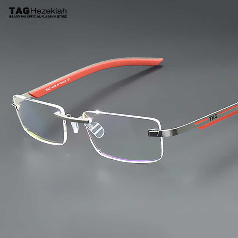 Rimless Eyeglasses 2017 : 2017 TAG Hezekiah brand frames eyeglasses rimless Memory ...