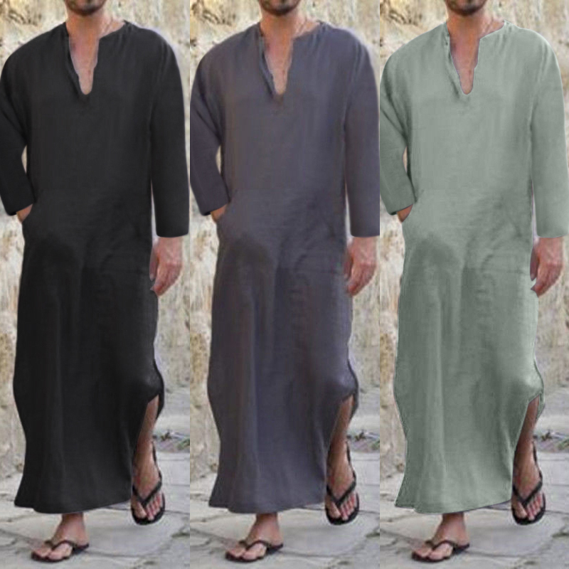 2018 Men Full Length Kaftan 100% Cotton Lounge Wear Home Robed Loungewear Sleepwear Islamic Arab Loose Pajama V-neck Solid S-3XL