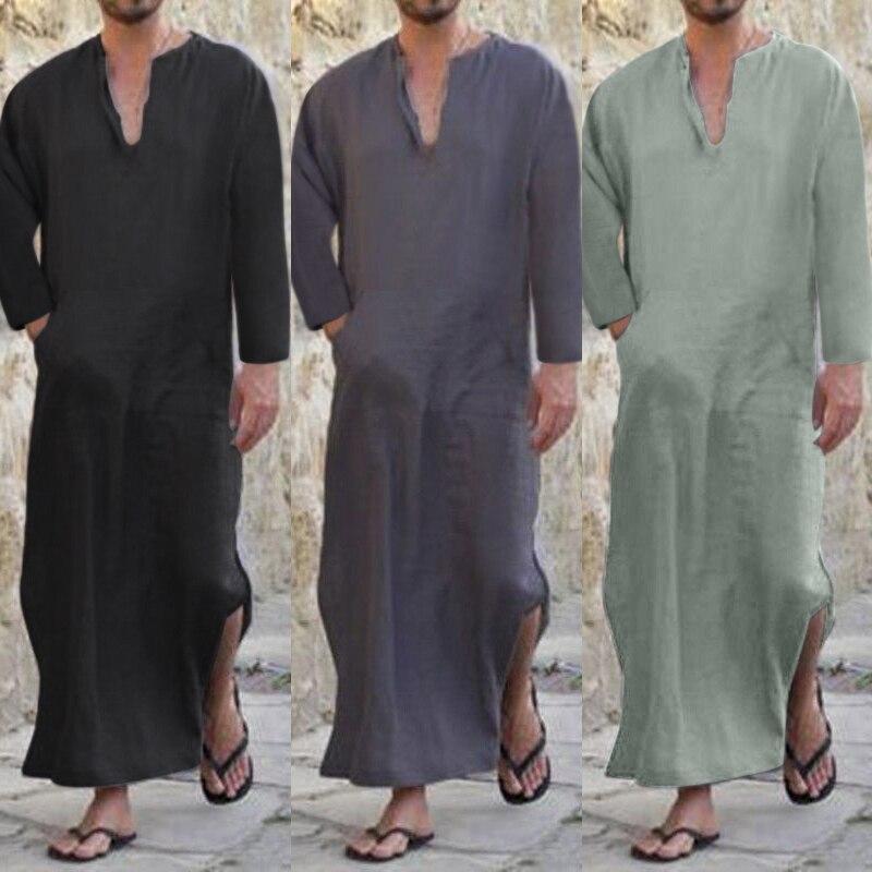 2018 Männer Voller Länge Kaftan 100% Baumwolle Lounge Tragen Hause Gekleidet Loungewear Nachtwäsche Islamischen Arabischen Lose Pyjama V-ausschnitt Solide S-3xl