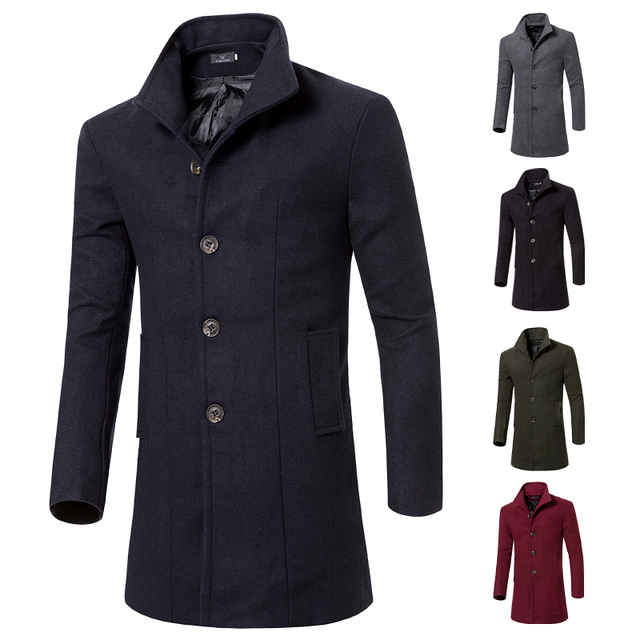 Mode 2017 winter lange trenchcoat männer marke gute qualität 5 farben  einreiher slim fit herren mäntel f7228f4b7b