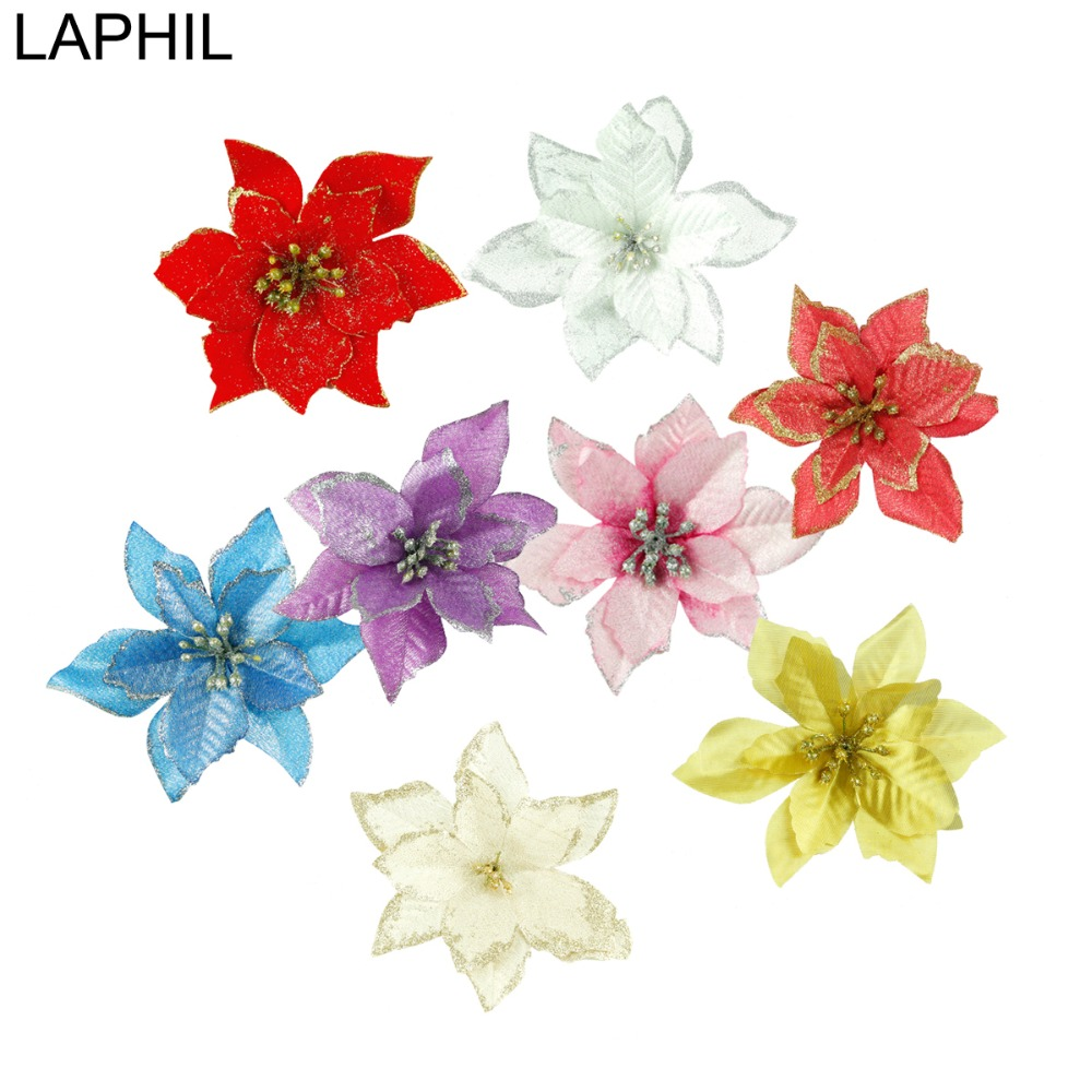 LAPHIL 5 10 20pcs Glitter Artificial Christmas Flowers Xmas Tree Ornaments Merry Christmas Decorations for Home New Year Decor