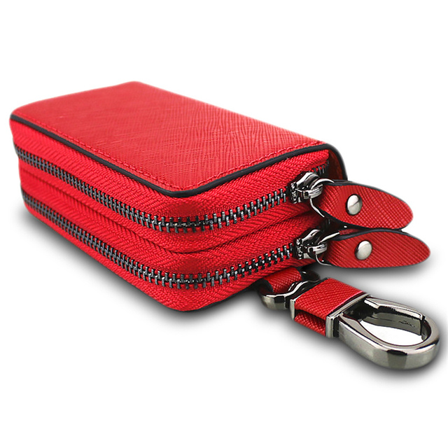 New Genuine Leather Car Key Holders Housekeeper Double Pocket Zipper  Multifunctional Square Home Key Case Women s Keys Wallets 576e2f191d