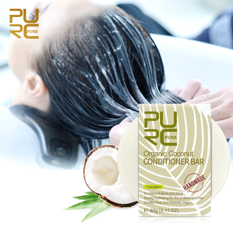 PURC Organic Coconut Conditioner Bar Vegan Handmade Repair Damage Frizzy Hair Conditioner Bar for Damaged Hair Dry TSLM1 image