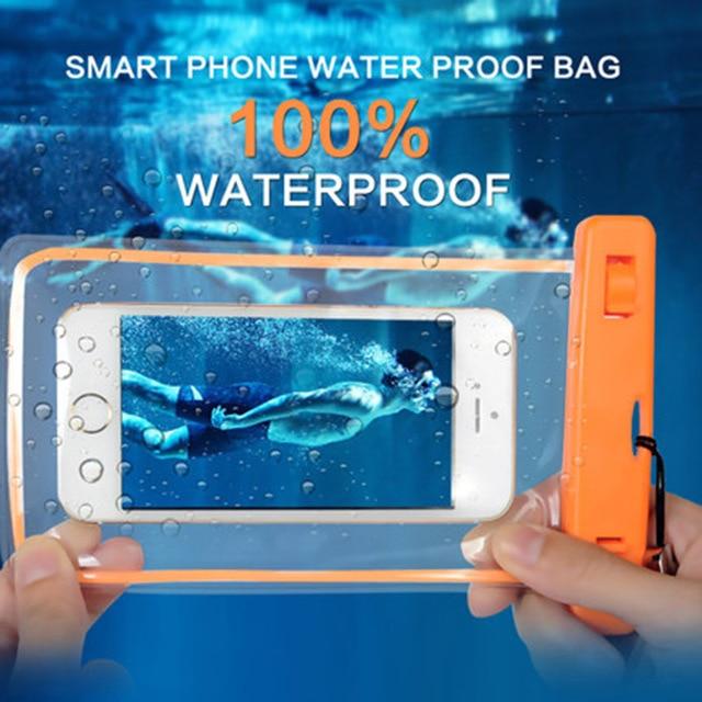Universal à prova d' água caso saco do telefone para o iphone 6 s transparente touchable luminosa saco seco casos de telefone para samsung galaxy s6 s5 S7