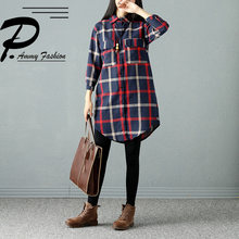 facd07bf2f0 Women s Retro Cotton   Linen Checkered Blouse Autumn Vintage Three Quarter  Mid-Long Plaid Turn-down Collar Fall Long Tunic shirt