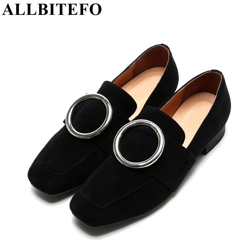 ALLBITEFO full genuine leather square toe low-heeled women pumps 2017 new spring thick heel metal charm shoes woman Sra zapato цена 2017