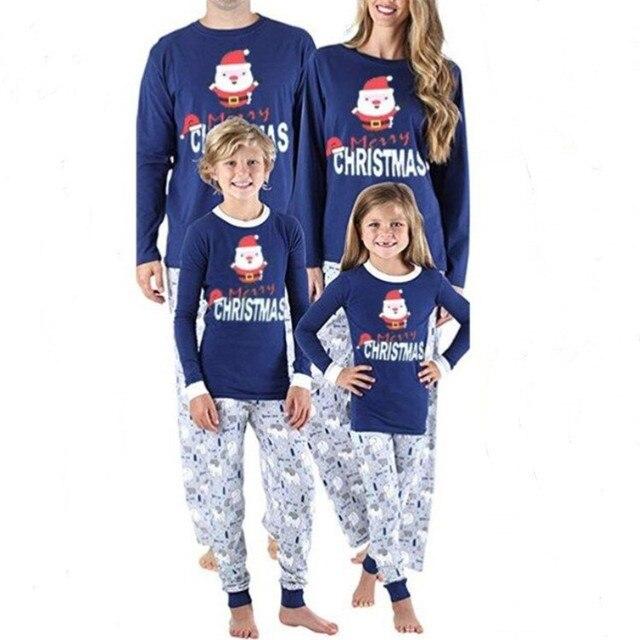 Family Matching Christmas Pajamas Set Blue 3D Bear Printed Nightwear For  Papa And Mama 2019 Men d8527ee25