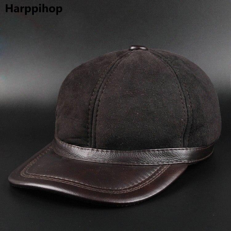 Véritable cuir hommes casquette de baseball chapeau tout nouveau hommes en cuir véritable adulte solide réglable armée chapeaux/casquettes