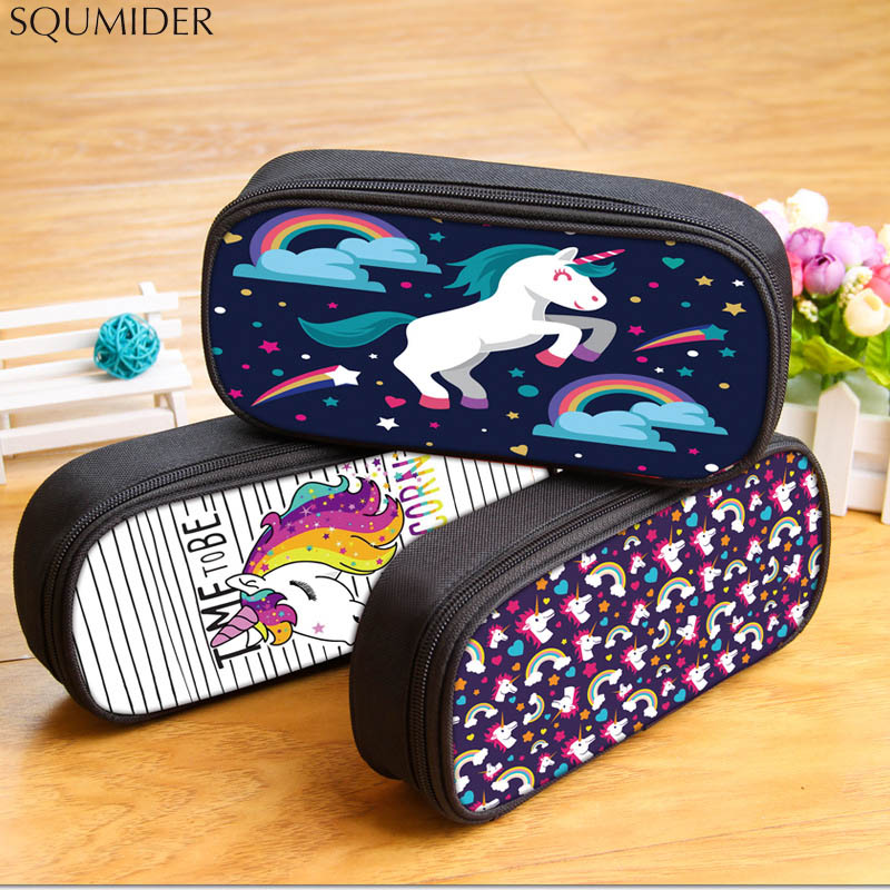 Unicorn Pencil Bag Cartoon Stationery Waterproof Oxford Pen Bag Large Zip Compartment Large Capacity Pencil Case School Supplies