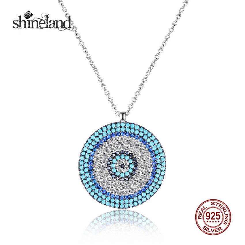 Shineland vintage micro zirconia greek evil eye pendant 925 sterling shineland vintage micro zirconia greek evil eye pendant 925 sterling silver necklace elegant women girls exquisite gift jewelry in necklaces from jewelry aloadofball Choice Image