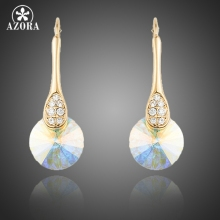 AZORA Gold Color Gradual Change Colour Stellux Austrian Crystal Drop Earrings for Women TE0228(China)