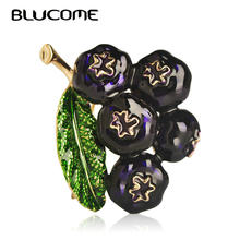 Blucome Fashion Dark Blue Enamel Blueberry Shape Brooch Women Kids Men Cool Gifts Fruit Brooches Accessories Team Uniforms Badge(China)