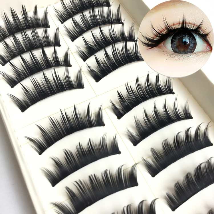 YOKPN 10 Pairs False Eyelashes Japanese Fake Eyelashes Natural Pointed Tail Thick COS MakeupTools Big Eyes Unarmored Lashes