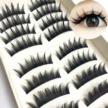 رموش مستعارة يابانية من YOKPN تحتوي على 10 أزواج من الرموش الطبيعية المدببة ذات الذيل المدبب الكثيف لأدوات تجميل العيون الكبيرة والرموش غير المدرعة