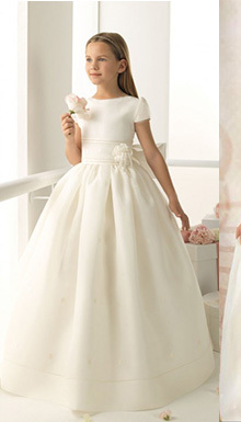 2018 fashion lace first communion   dress   vintage scoop neckline long noble WHITE ivory lace   flower     girl     dresses