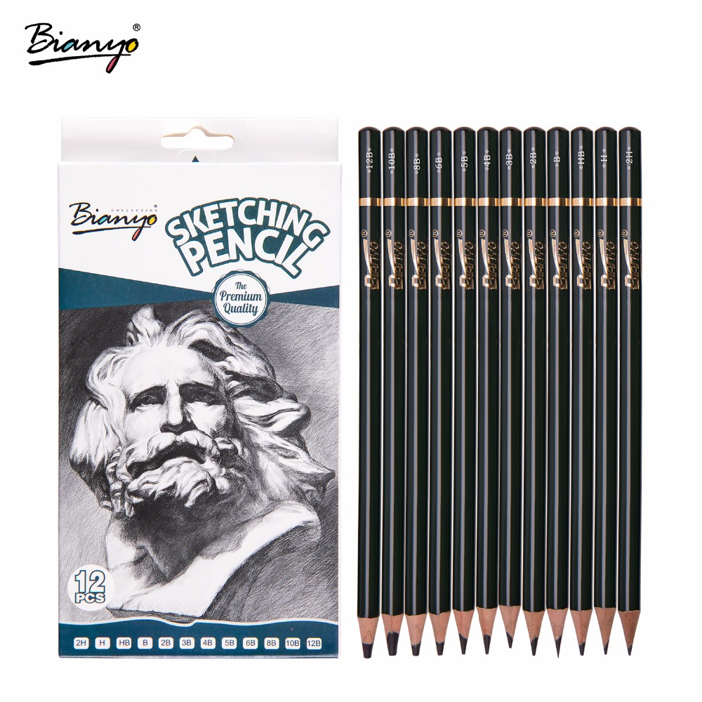 Bianyo12 Pieces/Box 2H-12B Sketch Drawing Pencil Set Best Quality Non-toxic Standard Pencils for Office School Pencil