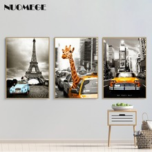 Nordic Poster Art Classic Black White Canvas Painting Tower Giraffe Poster Prints Wall Picture for Living Room Home Decor