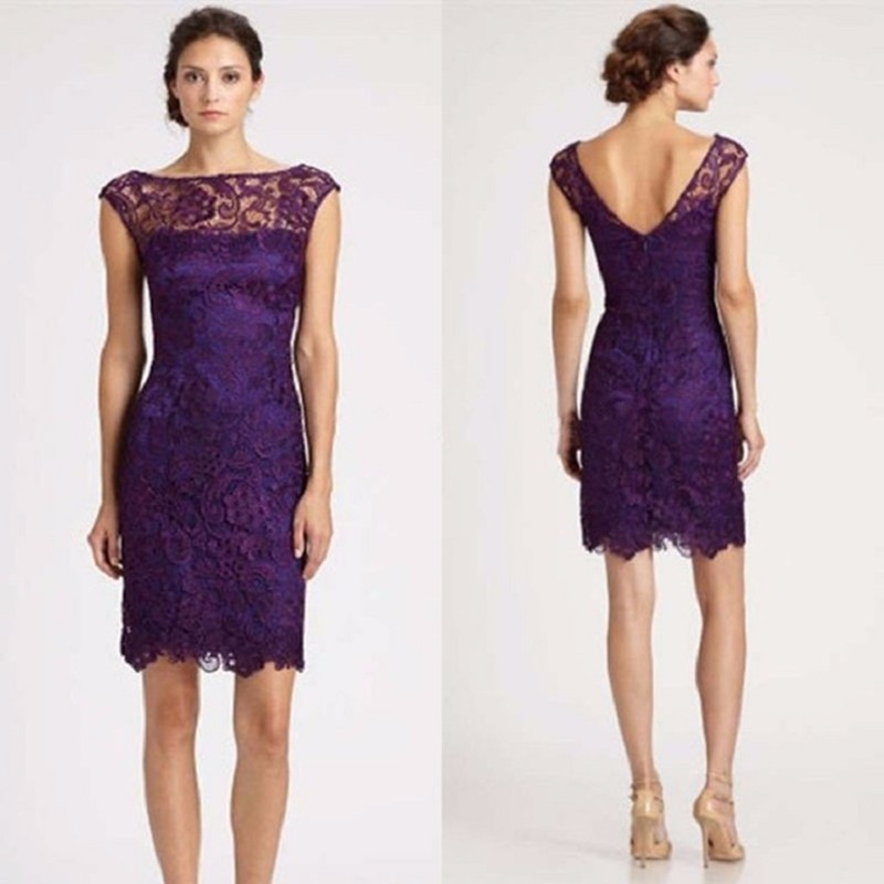 Elegant Sheer Capped Sleeves Purple Lace   Cocktail     Dress   Elegant Special Occasion   Dress   Party   cocktail     dresses   knee length 2019