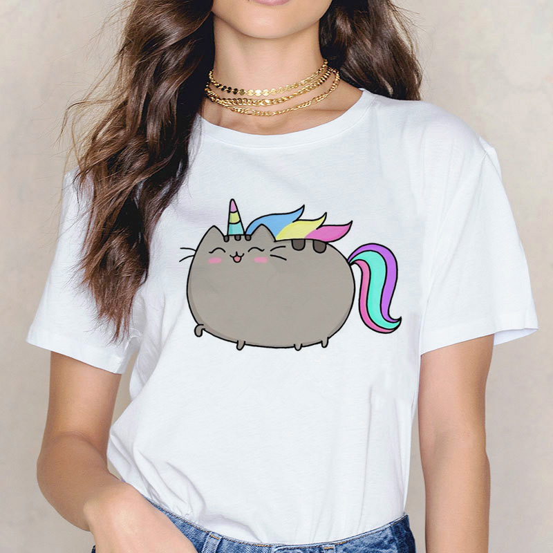 Pusheen T Shirt Women Korean Cartoon Cat Clothes Female Top Tee Shirts Tshirt Ulzzang Kawaii Graphic T-shirt Harajuku Casual