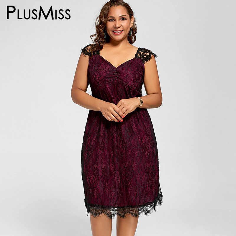 c306c09101f56 PlusMiss Plus Size 5XL XXXXL XXXL Lace Elegant Party Dresses Women Clothes  Sleeveless Vintage Red Tank