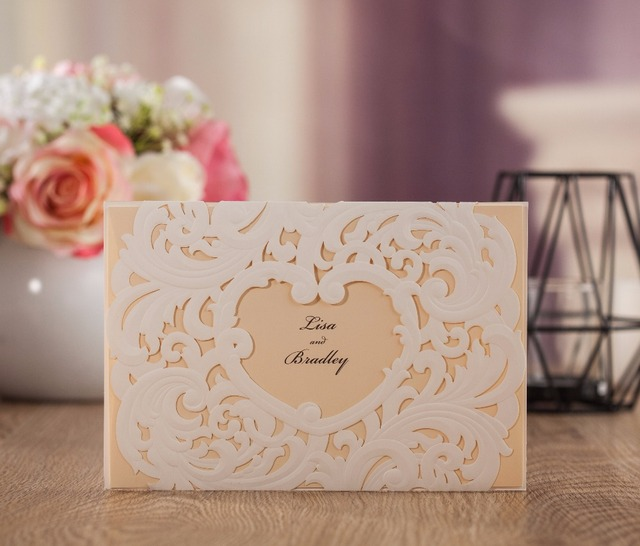 Wishmade Embossed Wedding Invitation Card Heart Design 50pcs Free Shipping Vintage Style Aw7018