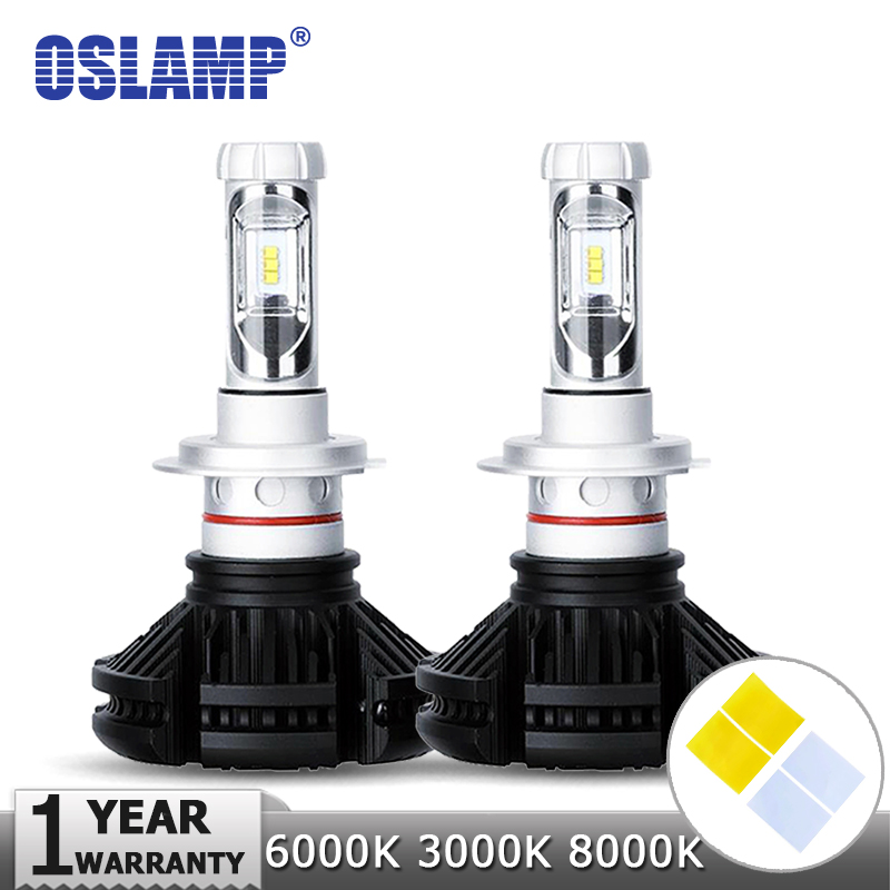 Oslamp H4/H7/H11/H13/9005/9006 50W LED Car Headlight Bulbs 6000lm CREE Chips Auto Headlamp Fog Light 12v 24v 3000K/6500K/8000K