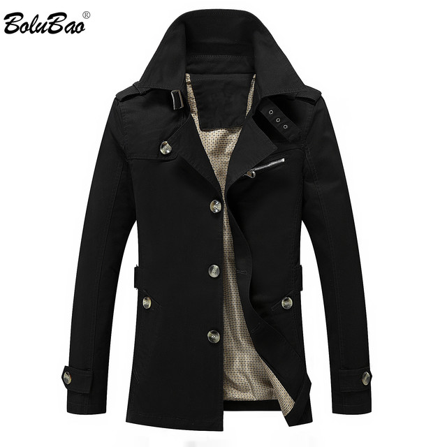 BOLUBAO Fashion Brand Men Trench Coats Autumn Winter Solid Color Slim Fit Mens Trench Jackets New Casual Trench Jacket Male