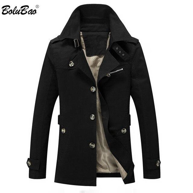 Мужской приталенный Тренч BOLUBAO, однотонный Повседневный Тренч, куртка на осень и зиму
