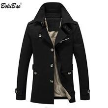 Bolubao marca de moda masculina trench coats outono inverno cor sólida fino ajuste dos homens trench jackets nova casual jaqueta masculina