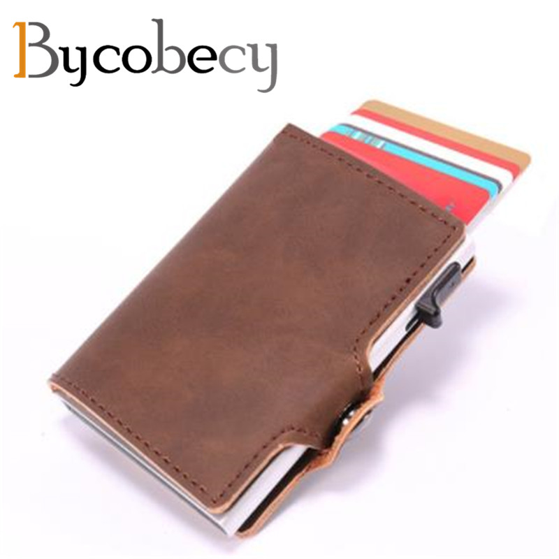 d19231d9fab9 US $12.58 30% OFF|Bycobecy New Unisex Aluminum ID Credit Card Holder RFID  Anti Protect Blocking Card Wallet Business Travel Metal Card Case 2019-in  ...