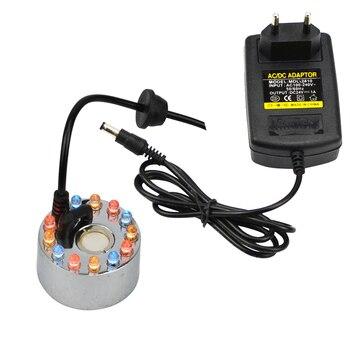 24 v humidificador ultrasónico 12 LED fabricante de la niebla nebulizador de niebla de agua fuente ultrasónico niebla generador vaporizador