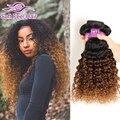 Ombre Бразильский Странный Вьющиеся Волосы Девственницы 3 Связки T1B/30 Темно-коричневый Ломбер Вьющиеся Плетение Волос Два Тона Ombre Человеческих Волос расширения