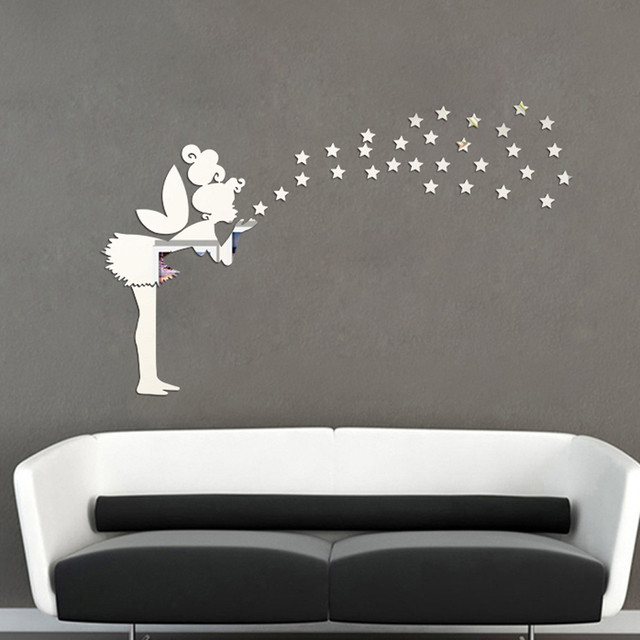 angel magic fairy stars 3d mirror wall sticker kid bedroom