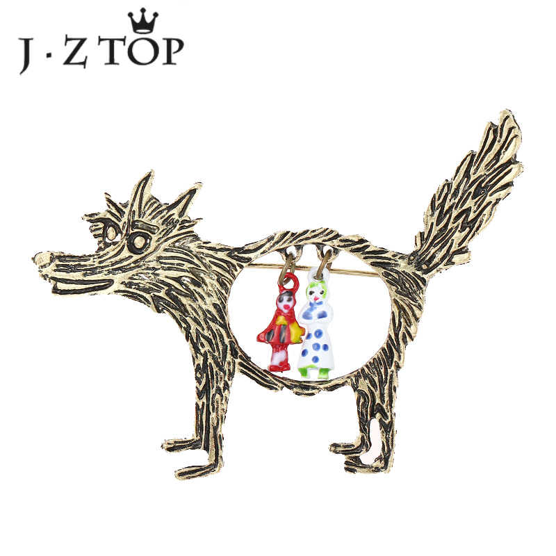 Jztop Vintage Warna Emas Serigala Hewan Pin Bros untuk Wanita Kreatif Boneka Antik Logam Kerah Pin Lencana Perhiasan Hadiah