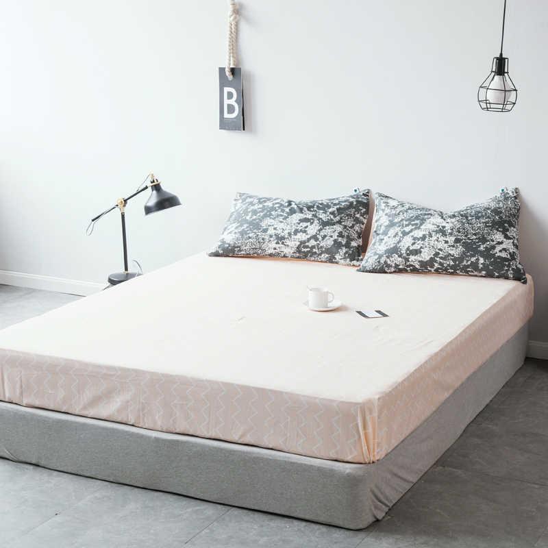 LAGMTA 1 قطعة 100% قطن أبيض وأسود غطاء مرتبة بأربع زوايا مع شريط مرن غطاء سرير