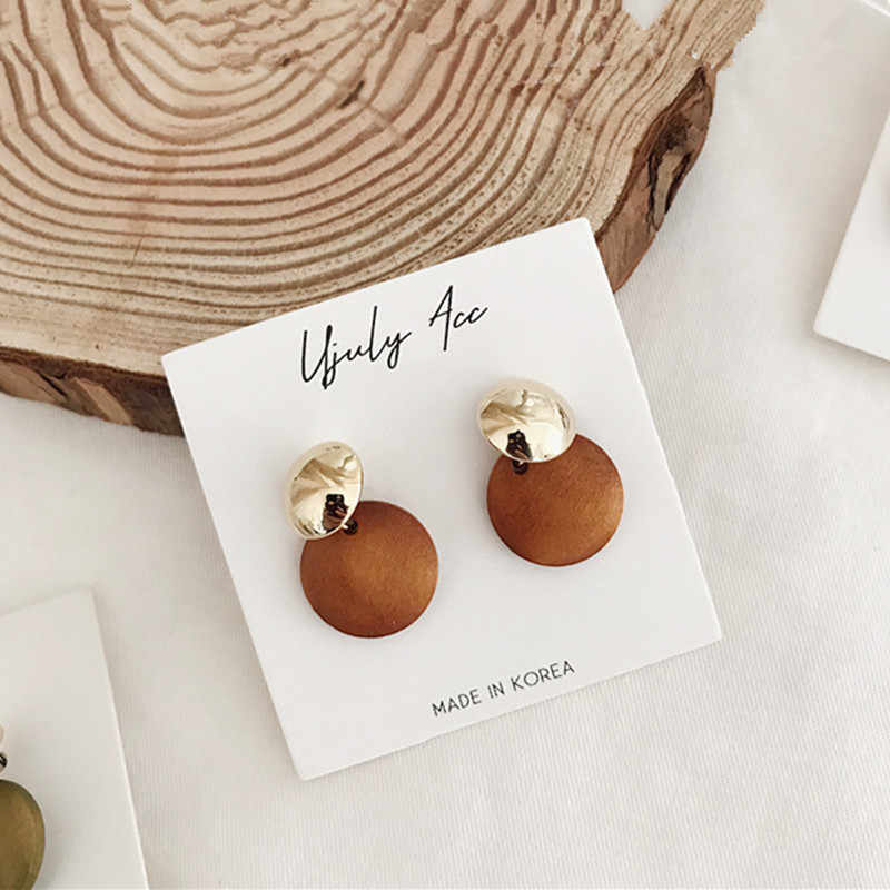 2018 Gold Color Small Geometric Circle Earring for Women Fashion Brown Green Wood Drop Earring Statement Pendientes Brincos