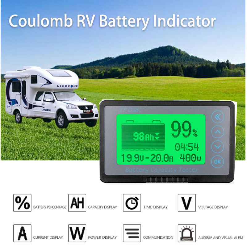<font><b>Battery</b></font> Monitor DC <font><b>10</b></font>-120v 50A digital coulomb meter <font><b>AH</b></font> SOC CAR RV Remaining Capacity lead-acid Li-ion lithium 12v 24v 36v 48v image