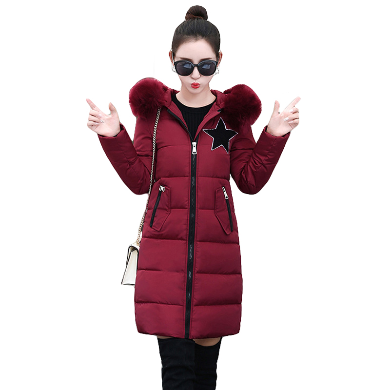 2017 Winter Jacket Women Fashion Cotton Jacket Long Sleeve Slim Warm Fur Collar Hooded Winter Coat Women Parkas Plus Size CM1451 hot autumn womens slim wool warm coat parka navy blue size s xl light tan red navy