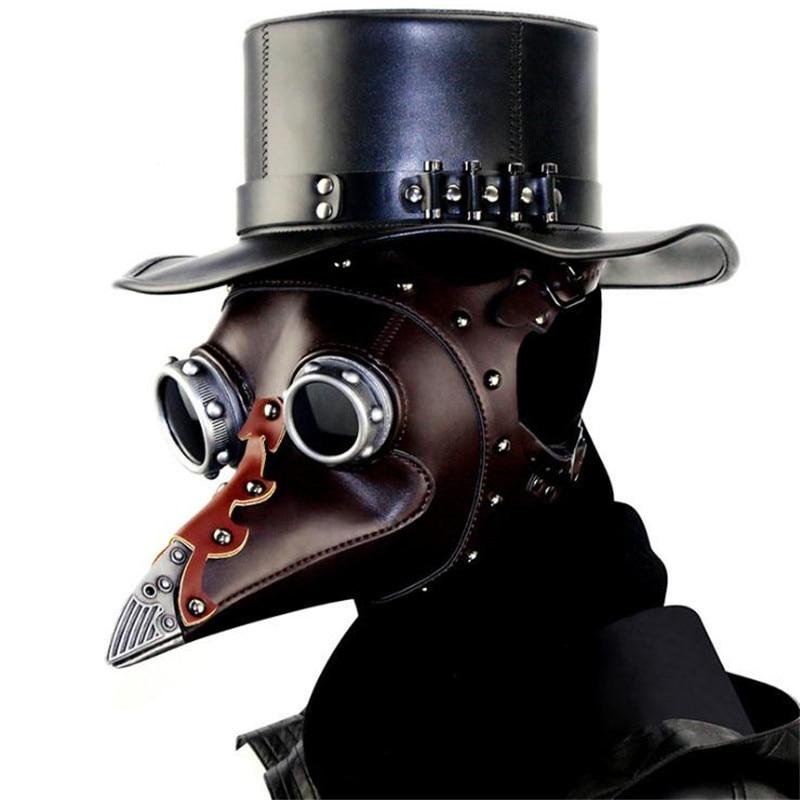 Unisex Anime Steam Punk Plague Beak Doctor Mask Cosplay Neutral Magic Hat Prop Christmas Party Halloween Costume For Women Men