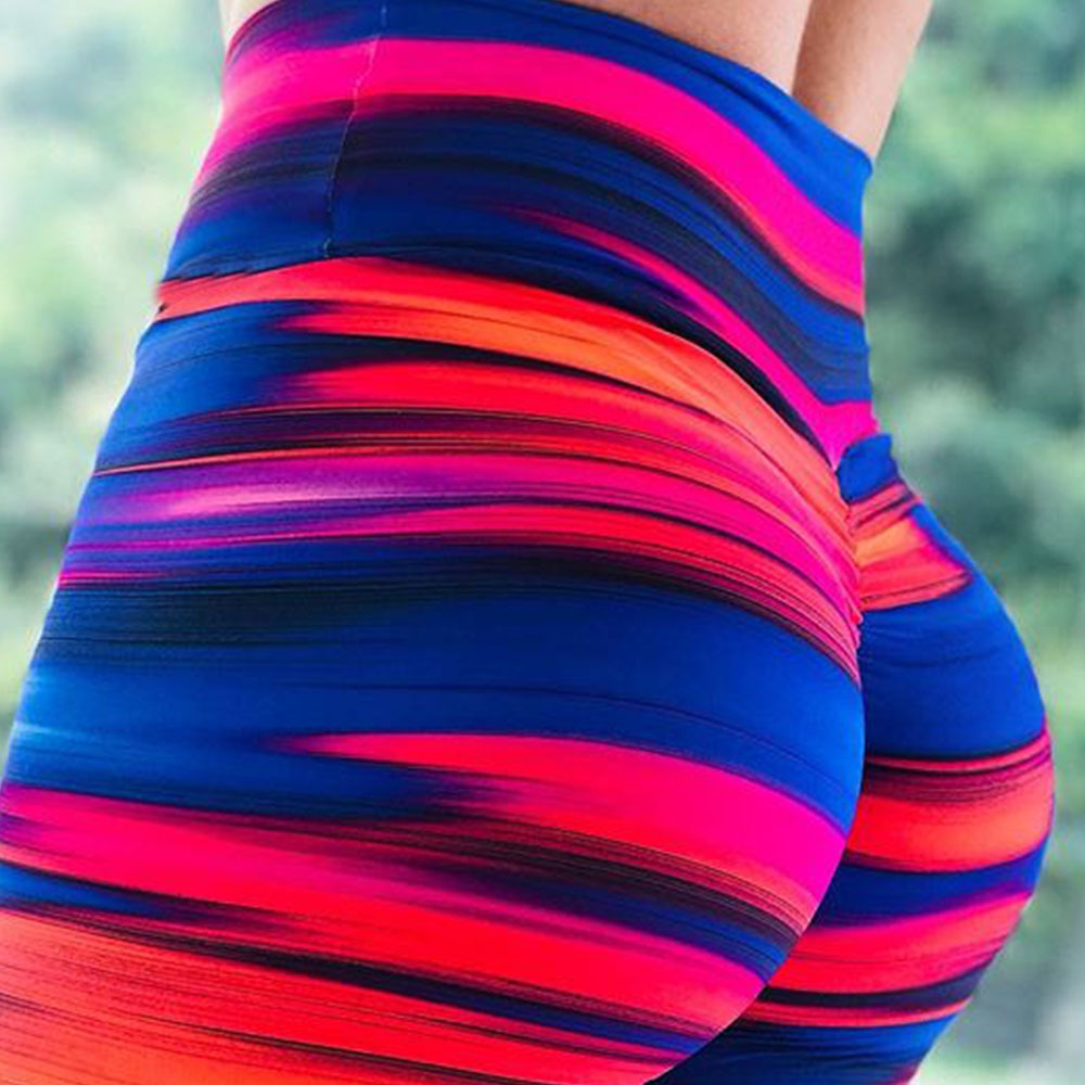 2018 New Style Striped Printed Women Fitness   Leggings   Push Up Workout   Leggings   Elastic Female Sporting Leggins Pants