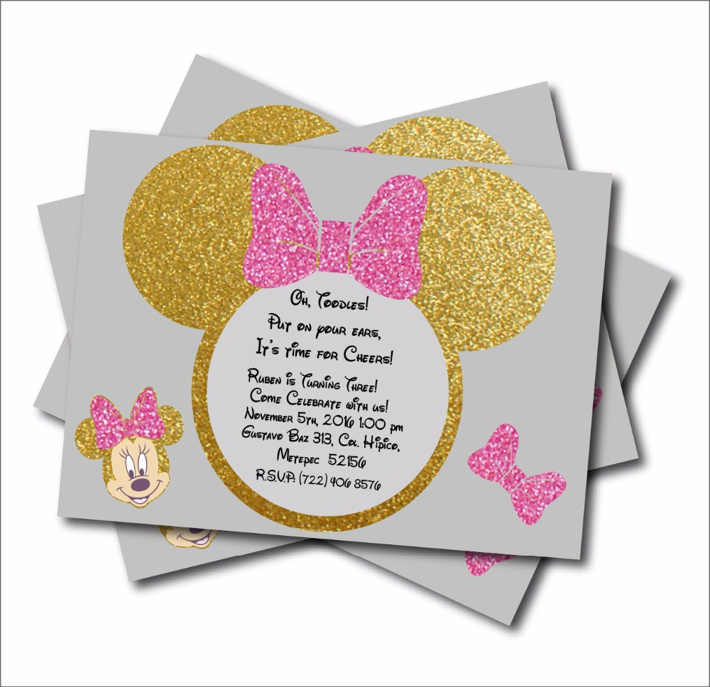 20 pcs/lot Minnie Mouse Gold glitter Custom Party Invites Minnie ...