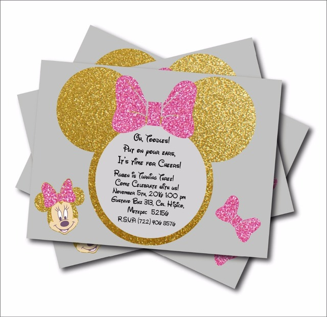 20 Pcs/lot Minnie Mouse Gold Glitter Custom Party Invites Minnie Mouse Baby  Shower Invitations