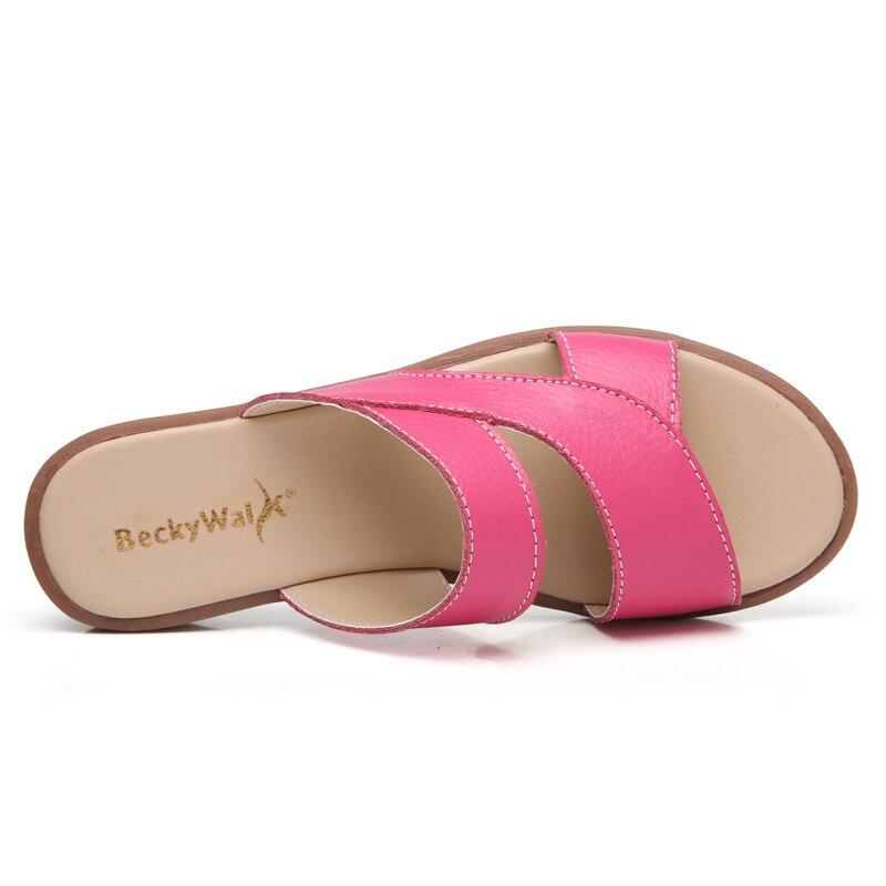 Chaussures Flip Véritable Beckywalk Femme Sandales Pantoufles Occasionnels Diapositives blanc Plage Dames Cuir jaune rose Wsh2856 Plat Femmes Red En D'été Flops Noir rOqzEOP