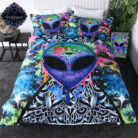 Trippy Alien by Brizbazaar Bedding Set Watercolor Duvet Cover The Third Eye Bed Set 3 Piece Mandala Saucerman Bedspreads Hot
